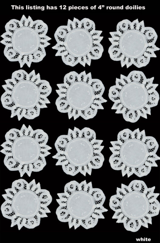 """12PCS White Battenburg Lace Doilies 4"""" Round with Hand Embroidery 1DOZ FREE SH"""