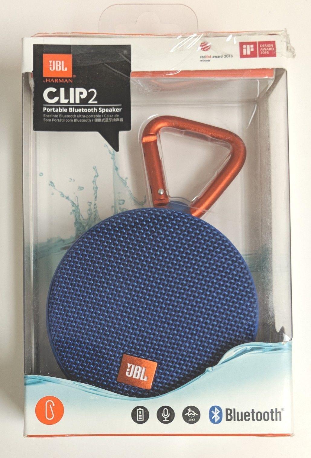 Genuine JBL Clip 2 Portable Bluetooth Speaker - Blue Brand N