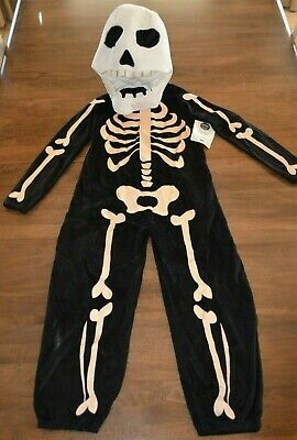 Pottery Barn Kids Glow In the Dark Skeleton Halloween Costume 7-8 Years NEW