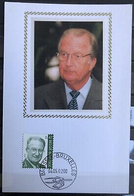 """Belgique België 2000, Carte Soie """"Roi Albert II"""" neuve, très bien"""