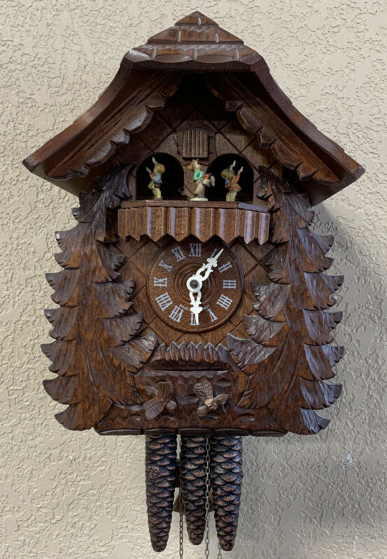 Hummel Cuckoo Clock Germany Romance Swiss Musical Movement Black Forest