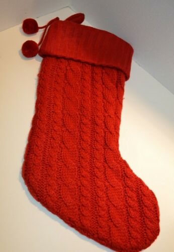 """Red Cable Knit Christmas 16"""" Stocking w/ Silk Interior"""