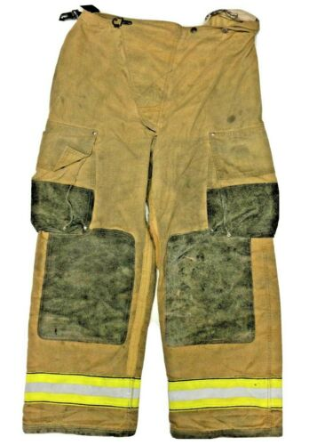 38x30 Globe Brown Firefighter Turn Out Pants with Yellow Tape No Liner PNL-14