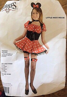 Little Miss Mouse Sz M Womens Halloween Costume Adult Dress Choker Ears Charades](Missy Mouse Halloween Costume)