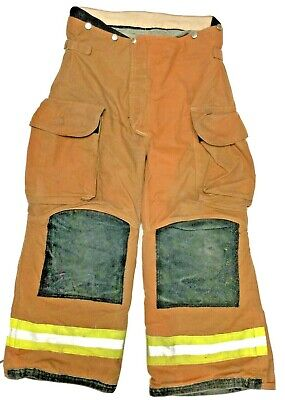 36x28 Janesville Lion Rusty Brown Yellow Stripe Firefighter Turnout Pants P1257