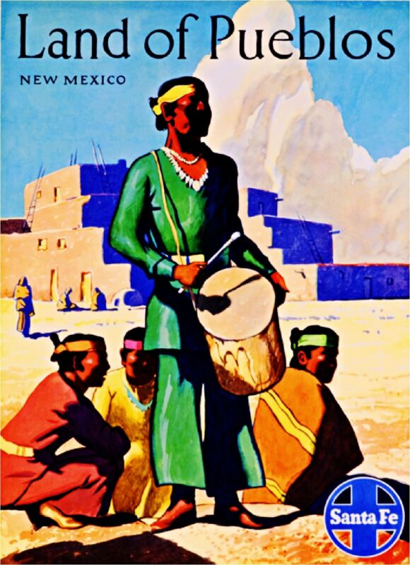 1930s Land of Pueblos New Mexico Vintage Railroad Travel Advertisement Poster