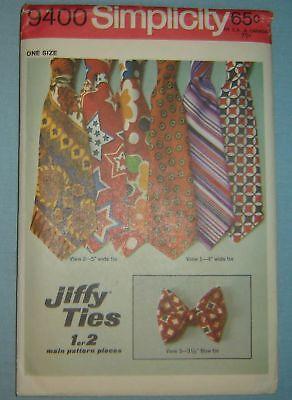 Simplicity 9400 Jiffy Ties Vintage Uncut Sewing Pattern 1971 Simple to Sew