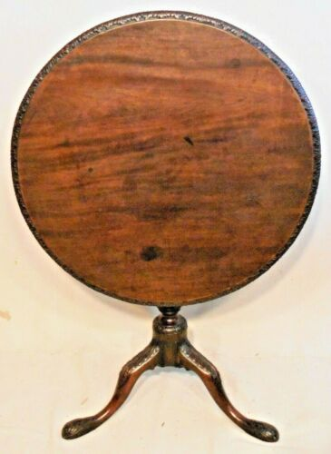 EXCEPTIONAL 18th CENTURY CARVED MAHOGANY ENGLISH CHIPPENDALE TILT TOP TEA TABLE