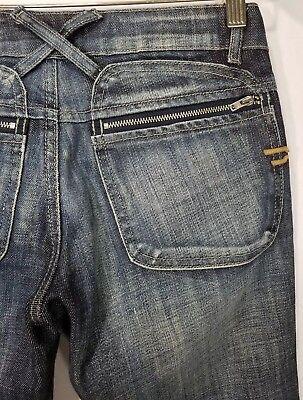(DIESEL Womens Distress Straight Leg Jeans 27 x 30 Zipper Pocket Cross Belt Loop)