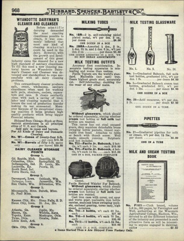 1922 PAPER AD Dairy Milk Testing Glassware Graduated Babcock Facile Whirler