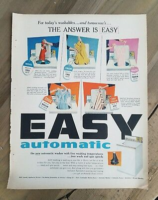 1957 Easy automatic washing machine washer color vintage ad for sale  Shipping to Nigeria