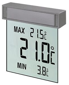 DIGITALES FENSTERTHERMOMETER VISION GROSSE LCD TFA 30.1025 MIN-MAX-THERMOMETER