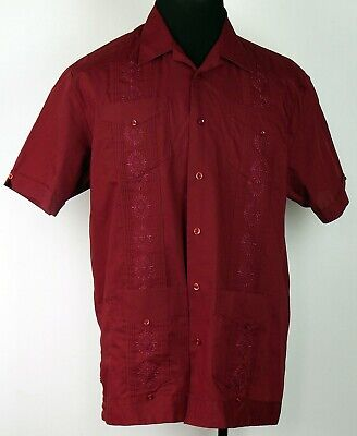 The Havanera Co. Wine Red Button-Front Short Sleeve Mexican Wedding Shirt M