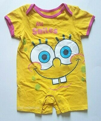 Nickelodeon Spongebob Squarepants Baby Girl One Piece 12M Outfit 100% Cotton NWT