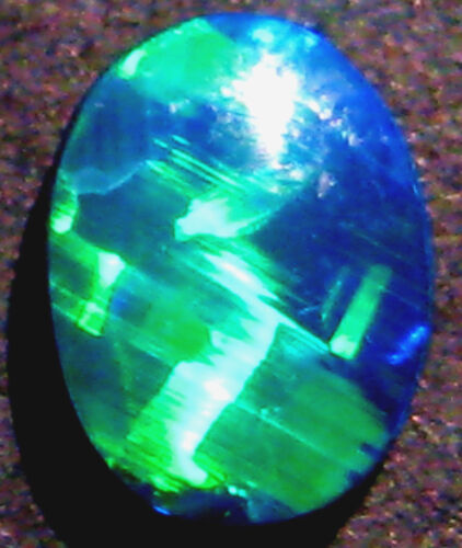 Australian Andamooka Opal Super Gem Doublet rolling flash 8x6mm (1737)