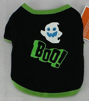 Halloween Black Ghost Boo Glow in the Dark Pet Dog Tee Shirt Size Small 7-12 lbs