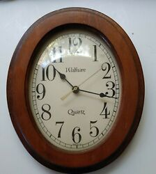 Vintage Waltham Quartz Oval Wall Clock, Made in USA approx. 11h x 9w Wood Frame