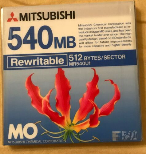 1 x NEW Unopened  MITSUBISHI  3.5inch 540MB Rewritable MO Disk