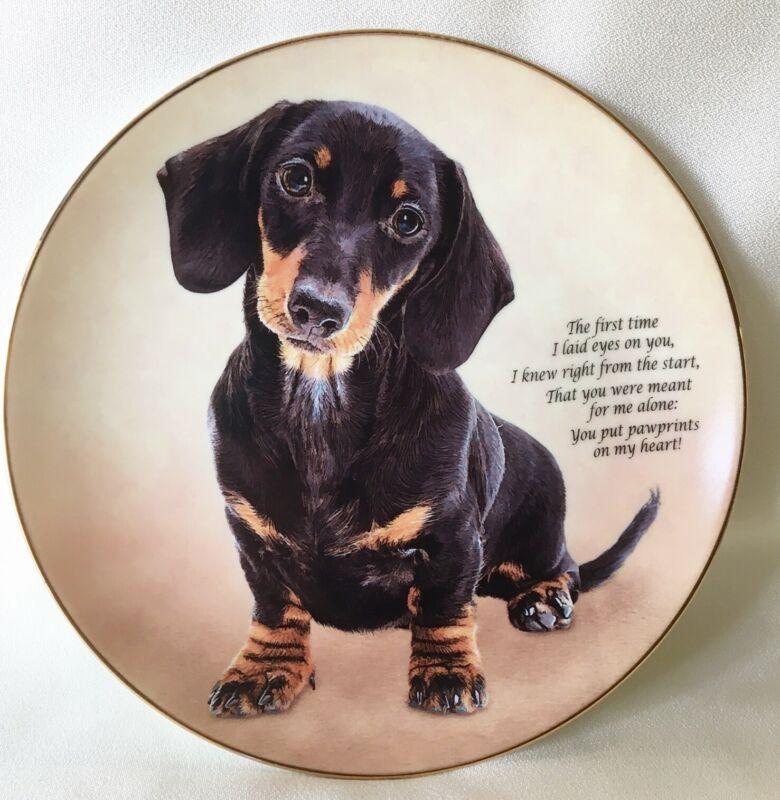 Danbury Mint Pawprints on my Heart Cherished Dachshunds Dog Plate #G5619  Plate