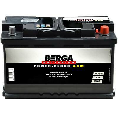 BERGA Autobatterie Start-Stop Plus 12V 80Ah 800A AGM Starterbatterie 580901080