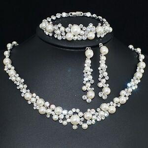 VP38 Clear S. Crystal 18K WGP Pearl Earrings Bracelet Necklace Set