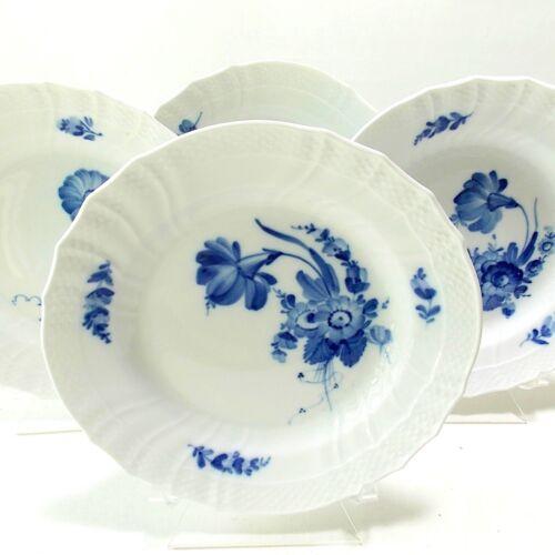 "ROYAL COPENHAGEN ""BLUE FLOWERS"" BRAIDED SALAD PLATES SCALLOPED RIM BLUE & WHITE"