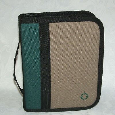Compact Sport Planner Binder 1 Rings Franklin Covey Green Tan Canvas Pages New