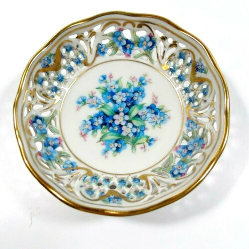 BEAUTIFUL SCHUMANN BAVARIA CHALET FORGET ME NOT TRINKET DISH BLUE FLOWERS NICE