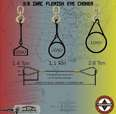Choker Sling Eips Wire Rope Steel Cable Flemish Eye 38 X 15iwrc Rigging Winch