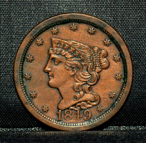 1849 BRAIDED HAIR HALF-CENT ✪ AU ALMOST UNC DETAILS ✪ 1/2C CLEANED C91 ◢TRUSTED◣