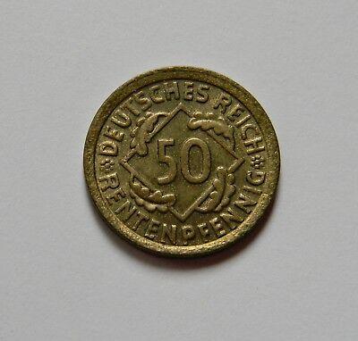 WEIMAR: 50 Rentenpfennig 1924 F, J. 310, prägefrisch/unc., LEICHT DEZENTRIERT !!