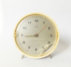 Vintage 1980s Alarm clock BEKA Czechoslovakia Desk Table Retro Old Parts gears