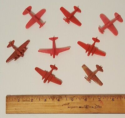 LOT OF 8 VINTAGE BAKELITE PLASTIC MINIATURE PLANES AIRPLANES CEREAL PREMIUM TOYS