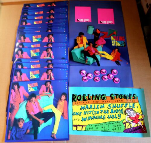 Lot of Rolling Stones POS Memorabilia - Dirty Work Posters / Pins / Standee