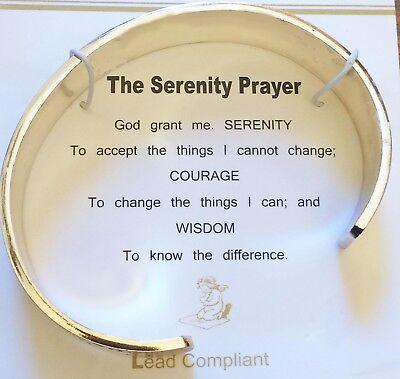 Serenity Prayer Bracelet Inspirational Cuff Unisex Silver Tone Gift Box - Inspirational Prayer