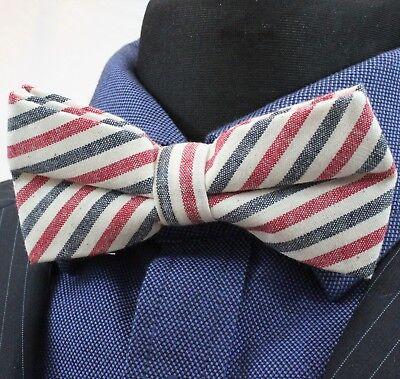 Bow Tie. Off  White Red Blue Stripe. Cotton Premium Quality. Pre-Tied. BV55 White Stripe Bow Tie