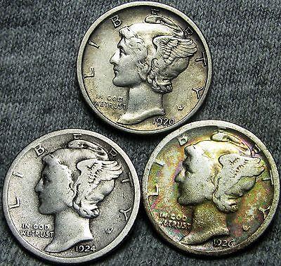 1920-D +1924-S +1926-S Mercury Dimes US Coins --- L@@K LOT ---   #N701