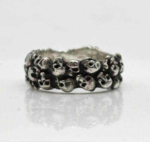 "Russian 84 Silver Ring with Skulls ""Memento Mori"""