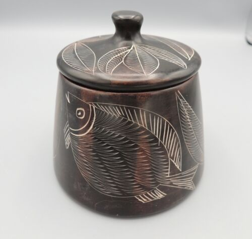 Nicaraguan Pottery Covered Jar San Juan Signed Vintage
