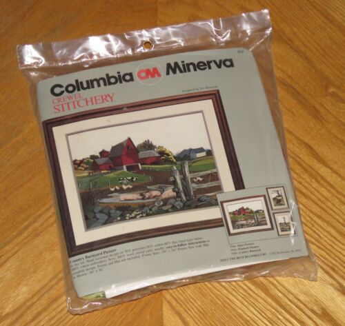 Country Barnyard Picture Pig Cow Chicken Vintage 1983 Sealed Crewel Kit 20 x 24