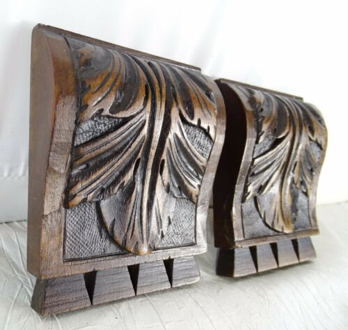 """Two French Antique Carved Wood Corbel - Wall Shelf Decor - Walnut Wood -   4"""" T"""