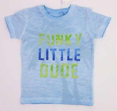 "Baby Boys Clothes NEXT ""FUNKY LITTLE DUDE"" Blue T-Shirt Tee 3-6/6-9/9-12 Months"