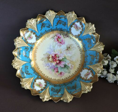 Rare Art Nouveau RS Prussia  Bowl with  poppies & roses