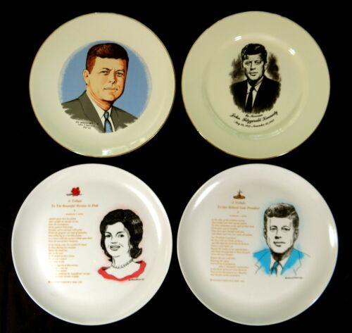 4 Souvenir Plates President John Kennedy Lot JFK & Jackie 2 Renisco 1963