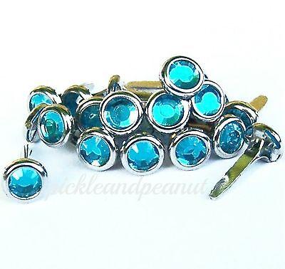 6mm Mid Blue Rhinestone Brads Diamante Jewel Gem Gemstone Style Crystal Craft ()