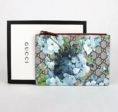 Gucci Blue Bloom Coated Canvas/Red Leather Zipper Pouch 546370 (Gucci Blue)