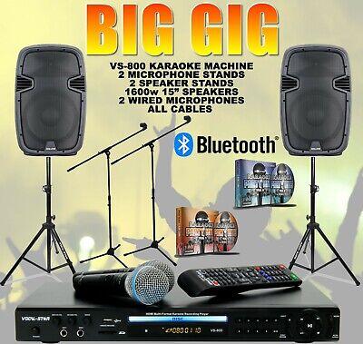 "BG VOCAL-STAR KARAOKE MACHINE & 1600w 15"" SPEAKER SET BLUETOOTH MICS 300 SONGS"