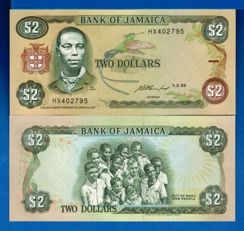 Jamaica P-69e 2 Dollars Year 1993 Uncirculated Banknote