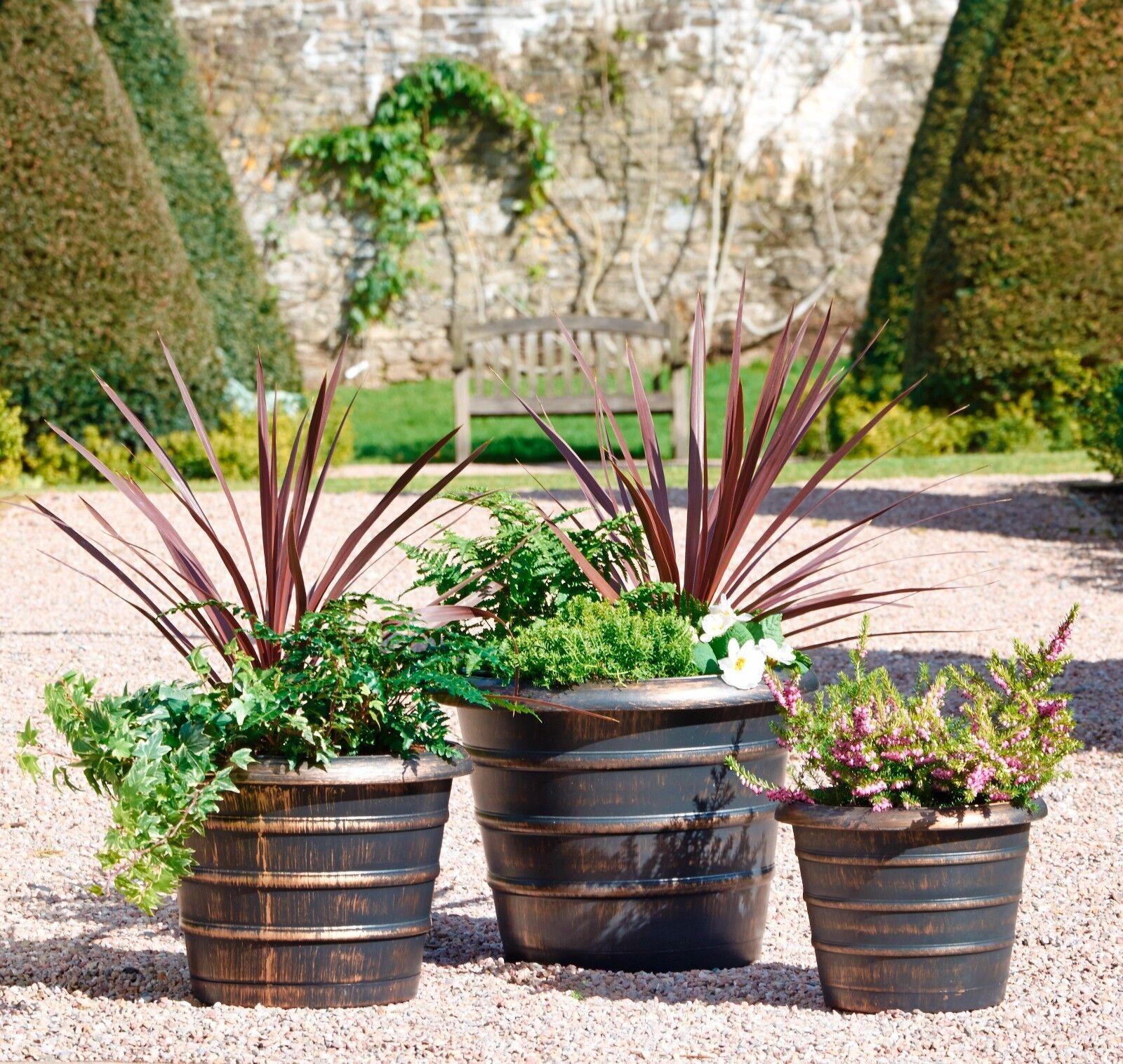 4 Pack Garden Plant Pots Set Plastic Planters Outdoor Indoor Bronze Effect NEW