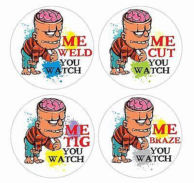 Zombie Brains Welder Lot 4 Hard Hat Stickers Helmet Hood Tool Box Decal Label